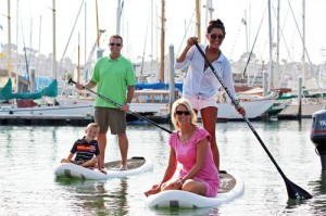 Family Paddleboarding in Harbor