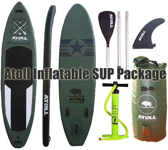 Atoll Inflatable SUP - Complete Package with Paddle, Pump, Fin, Carrying Bag