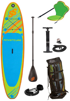 Sportsstuff Paddle Board Package with Board, Paddle, Pump, Guage, Lease, Backpack, Fin, Repair Kit