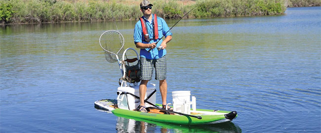 Man Fishing from Airhead Inflatable SUP with Sponsons