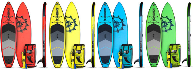 Slingshot Crossbreed Inflatable SUP Colors: Red, Yellow, Blue, Green