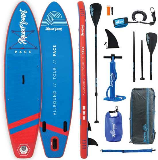 Aquaplanet Paddleboard Package with SUP, Paddle, Pump, Backpack, Leash, Dry Bag, Fin