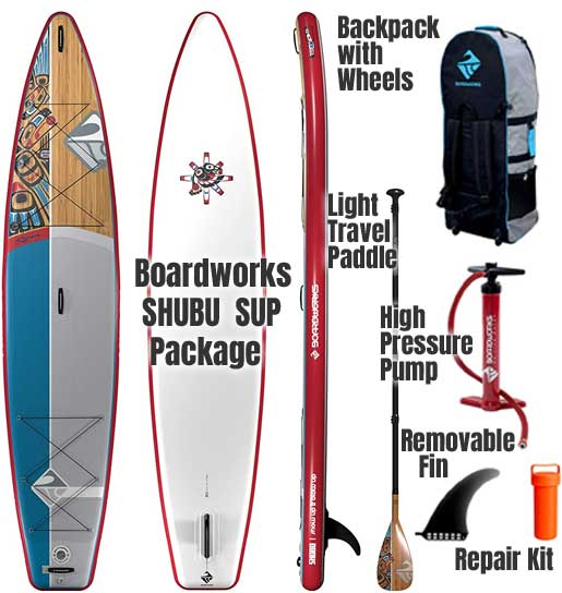 Boardworks SHUBU Raven SUP Package with Padddle, Air Pump, Backpack, Removable Fin, Repair Kit