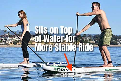 Stable Paddle Board Sits on Top of Water Instead of Sinking Partially Underwater